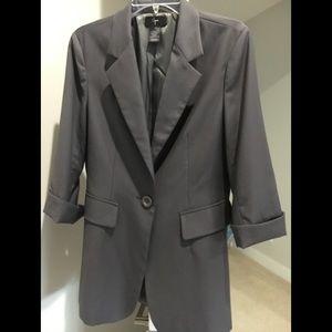 Aqua dark gray 3/4 sleeve blazer